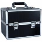 Kosmetický kufřík rozkládací 32x25x25cm černý stříbrný