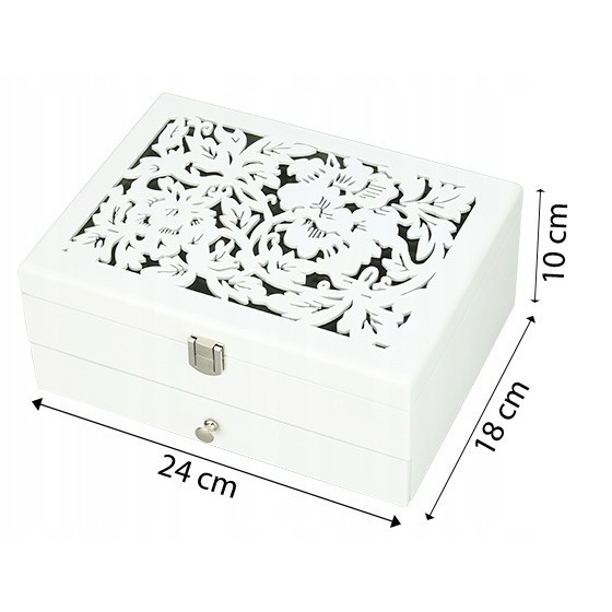 dřevěná šperkovnice na bižuterii bílá vzorovaná megamix.shop