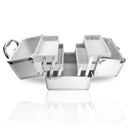 kosmetický kufřík rozkládací 18x18x18cm stříbrný megamix.shop