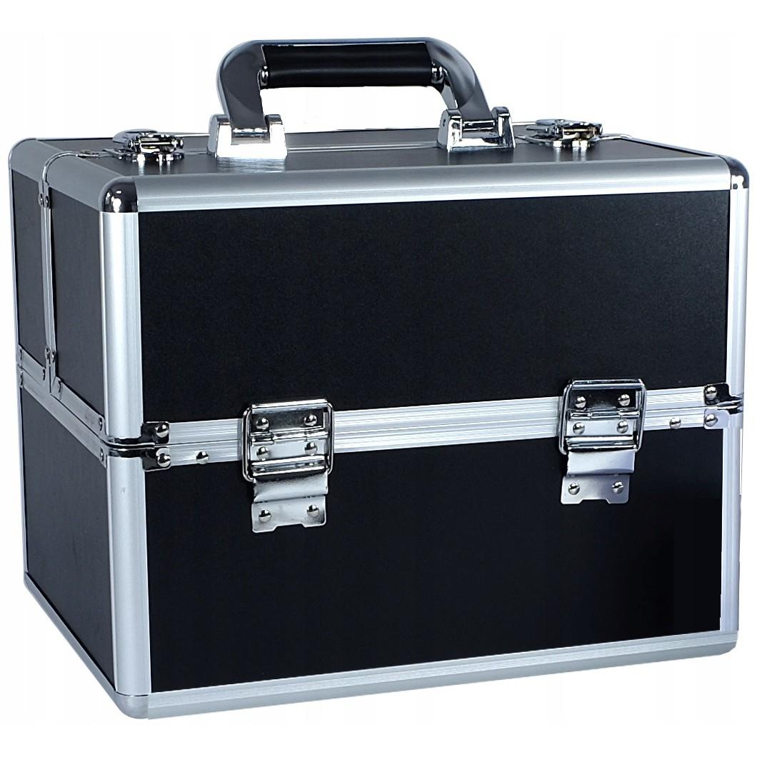kosmetický kufřík rozkládací 32x25x25cm černý stříbrný megamix.shop