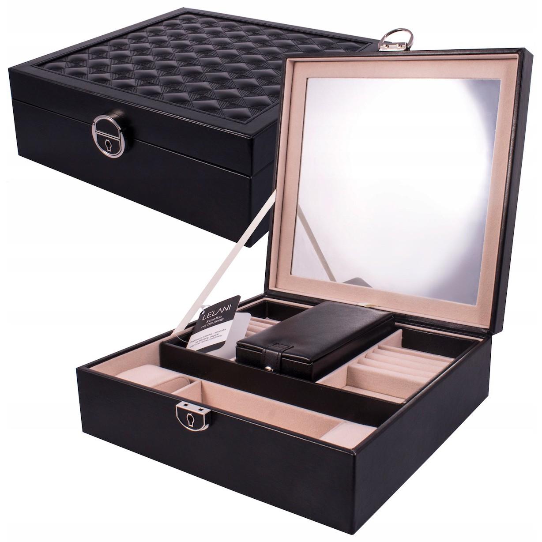 krabička na bižuterii L s přihrádkami zrcadlem na zámek megamix.shop