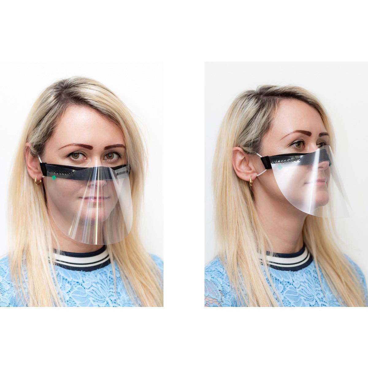 ochranný kryt na tvár priehľadná maska čierna nos ústa 21x12cm univerzálna megamix.shop
