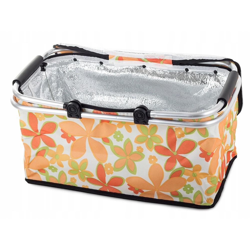 Skládací piknikový koš termální taška 48x28 cm bílá s květinami megamix.shop