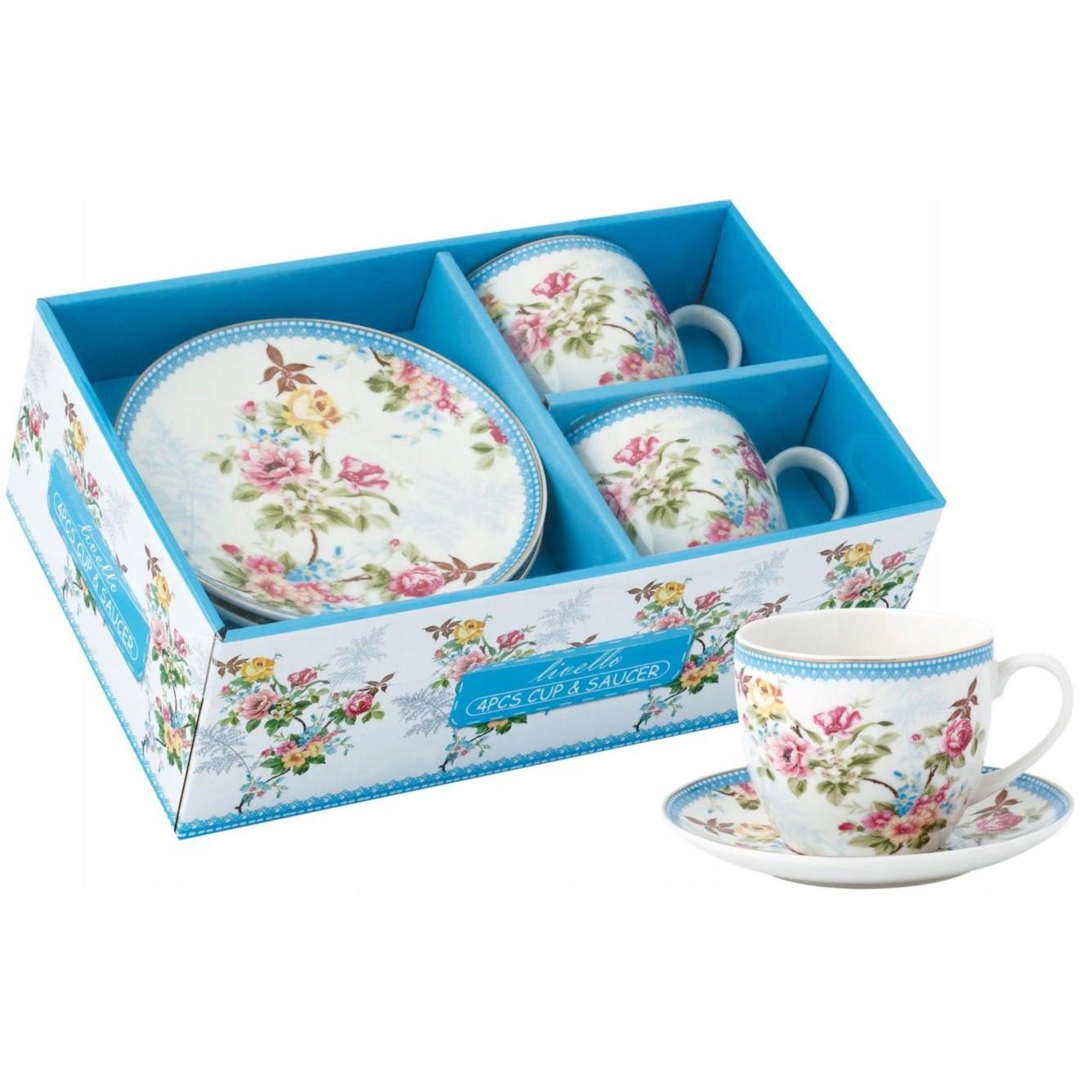 šálky na kávu čaj s talířky 2ks 250ml kvety záhrada megamix.shop