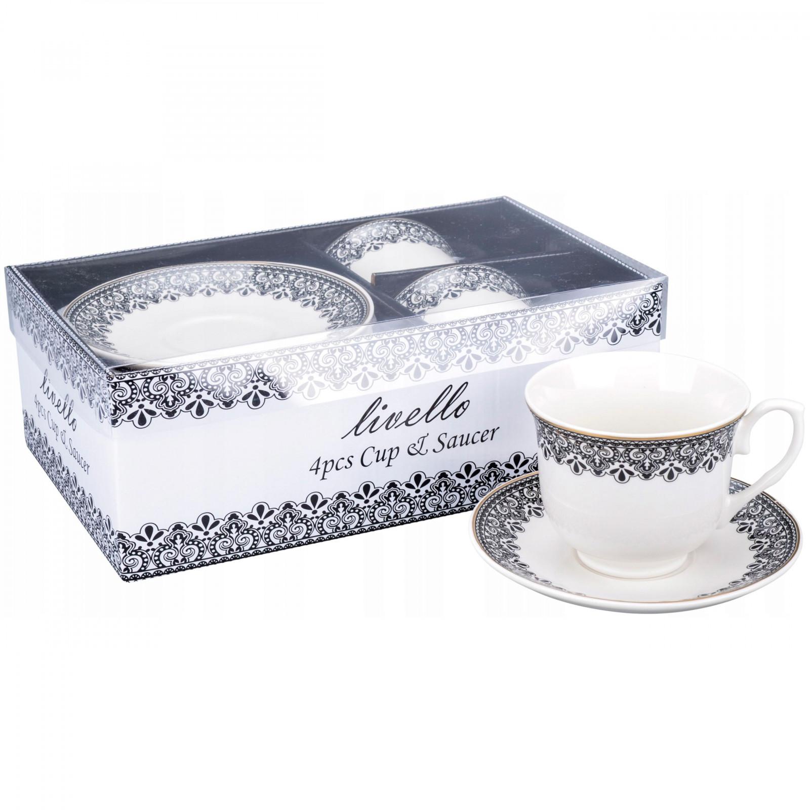 šálky na kávu čaj s talířky 2ks 250ml vzor 41 megamix.shop