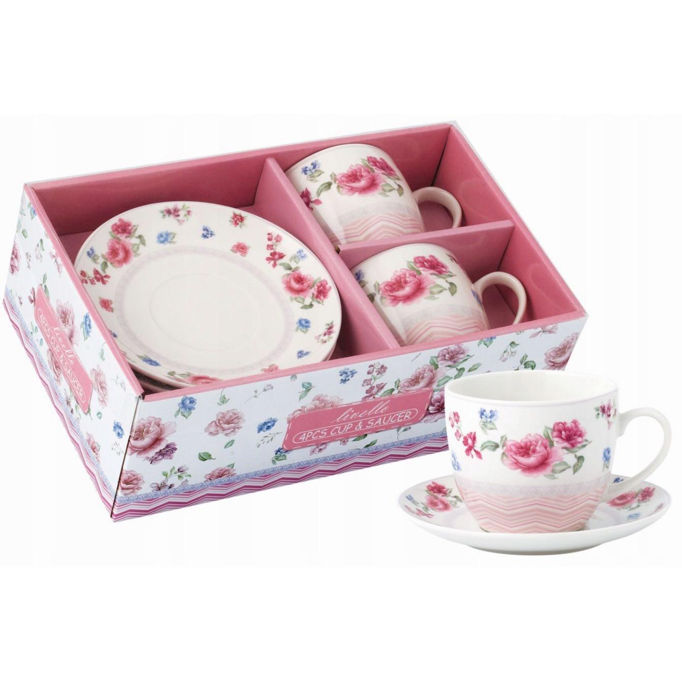 šálky na kávu čaj s talířky 2ks 250ml vzor 44 megamix.shop