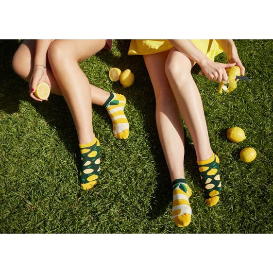 Barevné ponožky LEMON citron lístky 43-46 nízké megamix.shop