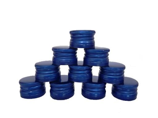 Víko hliníkový šroubovací uzávěr 28/18 mm 50 ks modré megamix.shop