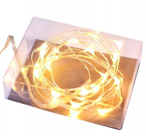 světelný drátek s 20ks LED lampami na baterie, teplá bílá barva světla megamix.shop